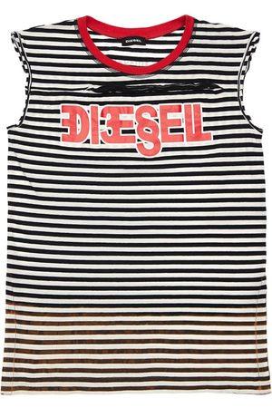 Diesel   Niña Vestido De Jersey De Algodón A Rayas /blanco 8a