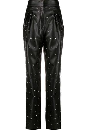 Serafini Pantalones efecto cuero con apliques