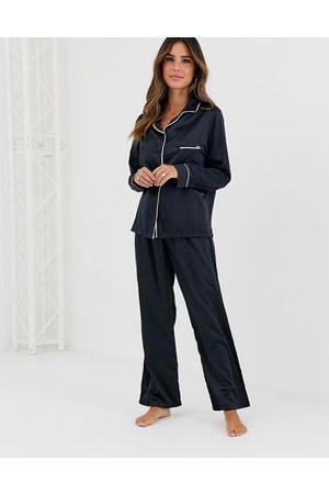 BlueBella Mujer Pijamas - Pijama negro de satén Claudia de