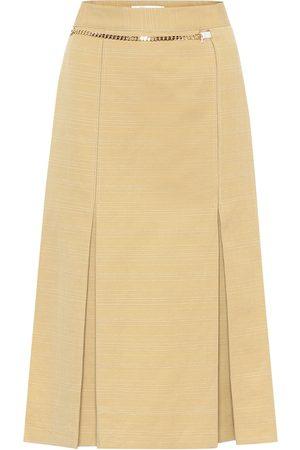 Victoria Beckham Falda midi de lino y algodón