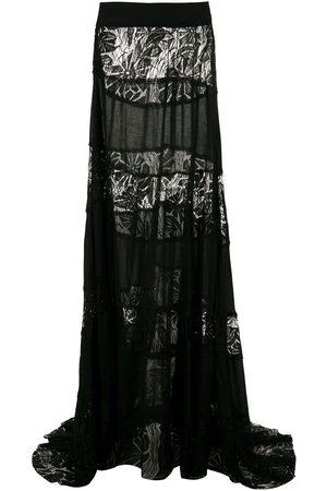 AMIR SLAMA Falda larga con paneles de encaje