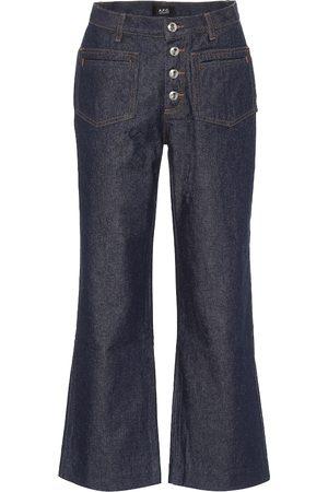 A.P.C Jeans flared cropped de tiro alto