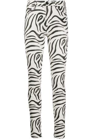Philipp Plein Pantalones de talle alto con motivo de cebra