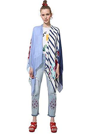Desigual Poncho Adelaida Woman White Bufanda Talla única para Mujer