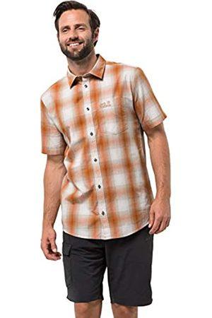 Jack Wolfskin Hot Chili Camisa de Manga Corta para Hombre, Camisa Casual a Cuadros, Color Desierto