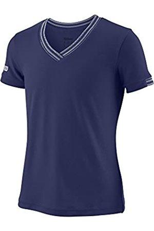 Wilson Niña Camisetas - Camiseta deportiva con cuello en V para niña, G Team V-Neck, Poliéster, , Talla: M