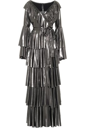 Norma Kamali Vestido largo de lamé con volantes