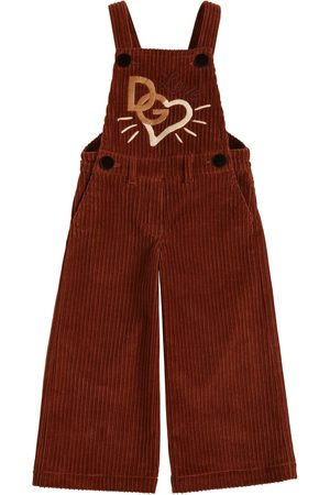 Dolce & Gabbana | Niña Love Embroidered Corduroy Overalls 8a