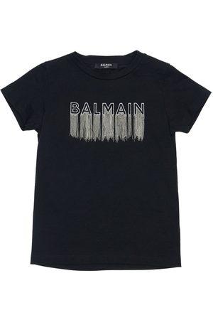 Balmain | Niña Camiseta De Jersey De Algodón Con Logo 8a