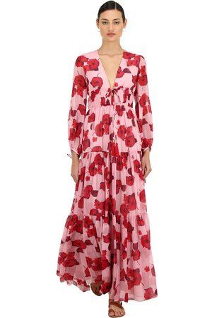 Borgo De Nor | Mujer Vestido Maxi De Seda Georgette Con Estampado /rojo 8