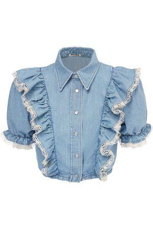 Miu Miu   Mujer Ruffled Cotton Crop Shirt W/ Lace 36