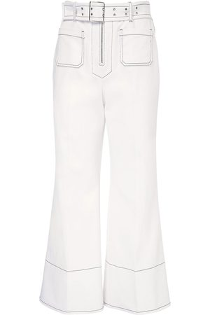 Miu Miu | Mujer Crop Cotton Drill Wide Leg Pants W/ Belt 36