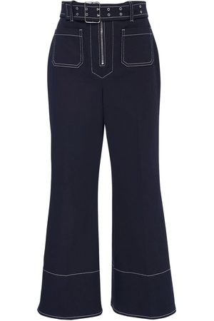 Miu Miu | Mujer Crop Cotton Drill Wide Leg Pants W/ Belt /blanco 36
