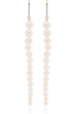 Mateo Mujer Pendientes - Pendientes con colgante en oro amarillo de 14kt con diamantes