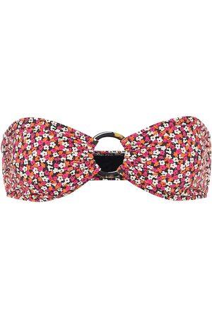 Solid Top de bikini floral