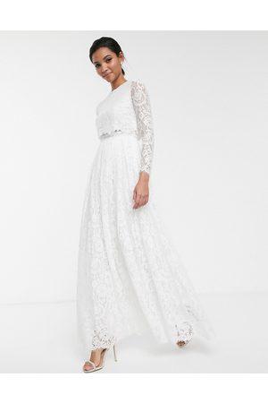 ASOS Mujer De noche - Vestido de boda con top corto de encaje Grace de -Blanco