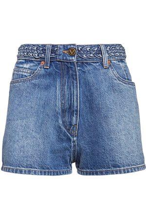 VALENTINO | Mujer Signature Logo Cotton Denim Shorts 24