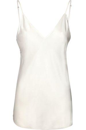 Max Mara   Mujer V Neck Stretch Silk Satin Tank Top 36