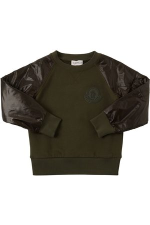 Moncler | Niño Cotton Sweatshirt W/ Ripstop Sleeves 8a