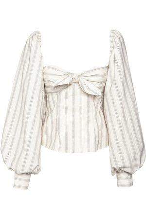 The Attico | Mujer Striped Jacquard Cotton Blend Top /multi 36