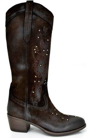 Exé Shoes Botas BOTAS ALTA CAMPERAS CON TACÓN BELA-448 BROWN para mujer