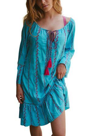 Admas Vestido Vestido de playa bordado Líneas turquesa para mujer