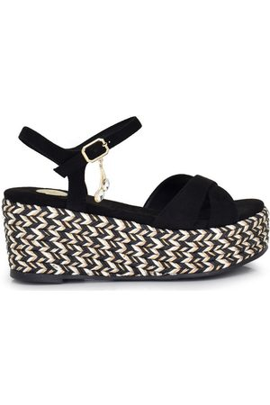 Exé Shoes Sandalias SANDALIA PLATAFORMA ESPARTO NEGRA CORFU-304 para mujer