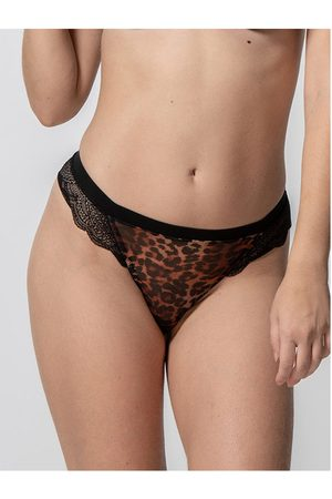 Luna Strings Tanga Wildcat negra Splendida para mujer