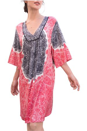 Admas Vestido Vestido playero de manga tres cuartos Beach Paisley para mujer