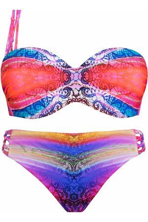 Luna Bikini Juego de 2 piezas preformadas 1 correa Rainbow para mujer