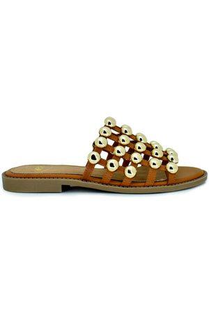 Exé Shoes Sandalias SANDALIA PLANA JAULA TACHUELAS CAMEL VF603-2 para mujer
