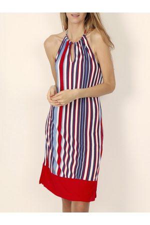 Admas Vestido Vestido de verano sin mangas Elegante Rayas rojas para mujer