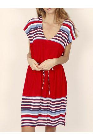 Admas Vestido Elegante vestido de verano mangas cortas rayas rojas para mujer