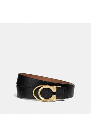 Coach Hombre Cinturones - Cinturón con hebilla de firma, 38 mm in Black/Brown