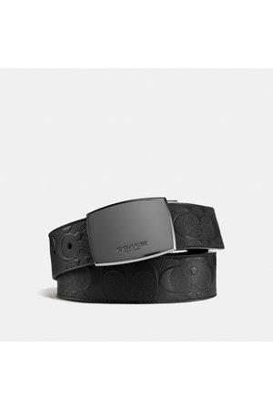 Coach Hombre Cinturones - Cinturón clásico reversible cortado a medida con placa en piel de la firma in Black