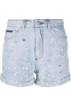 Philipp Plein Pantalones vaqueros cortos con apliques de cristal