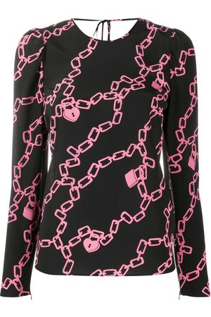 RED Valentino Chain-link print long-sleeved blouse