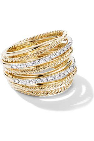 David Yurman Anillo Crossover ancho con diamantes en oro amarillo de 18kt