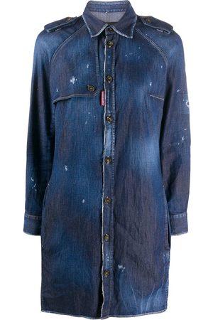Dsquared2 Vestido camisero con acabado envejecido y botones