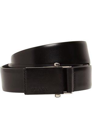 Prada | Hombre 3.2cm Debossed Logo Leather Belt 80