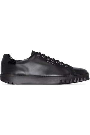 Salvatore Ferragamo Black Cube leather sneakers