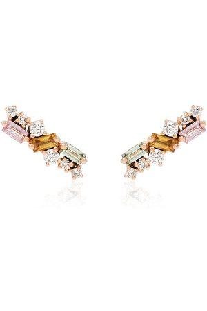 Suzanne Kalan 18K rose gold diamond sapphire stud earrings