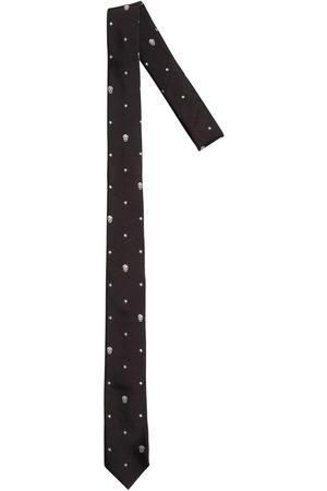 Alexander McQueen | Hombre Corbata De Seda Con Calaveras Bordadas 5cm /gris Unique