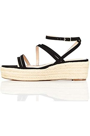 FIND Marca Amazon - Strippy Wedge Espadrille Sandalias con cuña Tipo Alpargatas, (Black)