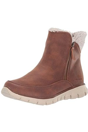 Skechers Women's SYNERGY Ankle Boots, Brown (Chestnut Micro Leather/Natural Faux Sherpa Csnt)
