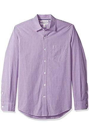 Amazon Slim-Fit Long-Sleeve Gingham Shirt Camisa Abotonada, Purple Mini