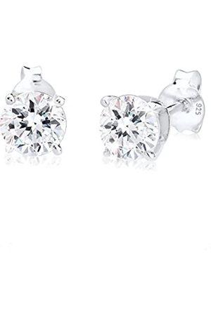 Elli Damen-Pendientes de cristal de de ley 925 pendientes Basic con cristales de Swarovski Cristales en el corte brillante blanco - 0306990314
