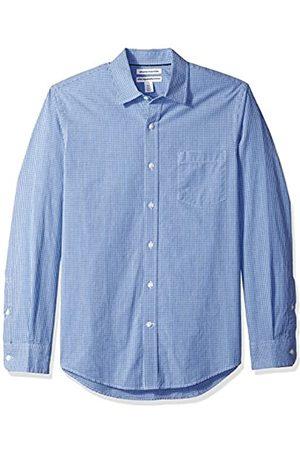 Amazon Slim-Fit Long-Sleeve Gingham Shirt Camisa Abotonada, Blue Mini