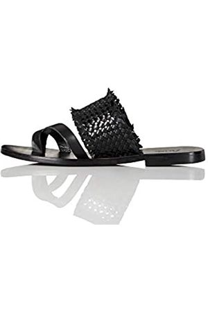 FIND Marca Amazon - FIND Flat Toe Thong Weave Leather Sandal Sandalias de Punta Descubierta, (Black)