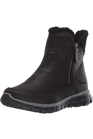 Skechers Synergy, Botines para Mujer, Black Micro Leather/Faux Sherpa BBK